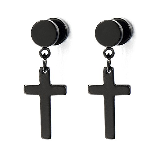 Pair of Black Screw Stud Earrings with Cross Unisex Men Women Boys