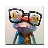 Fokenzary dipinto ad olio dipinto a mano rana con occhiali su tela spalmato e incorniciato pronto per essere appeso tela 32x32in