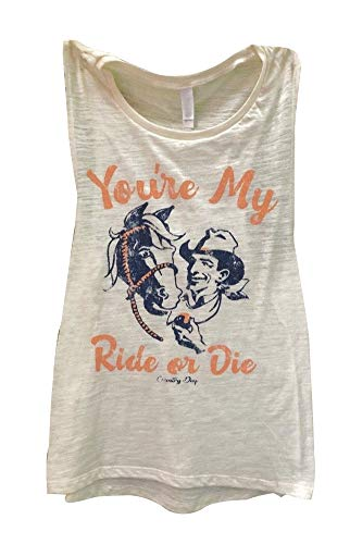 Women You're My Ride Or Die Ringer Tanks Funny Graphic Sleeveless Cowboy T Shirts Muscle Tops (XL, White)