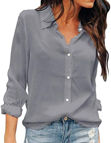OMSJ Women Button Down Shirts Long Sleeve Chiffon Office Casual Blouses XL Gray product image