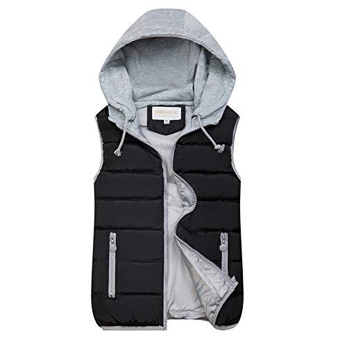 VJGOAL Abrigo de Mujer Otoño Invierno Moda Cálido Color sólido Cremallera sin Mangas Chaleco con Capucha Abrigo Chaqueta Acolchada