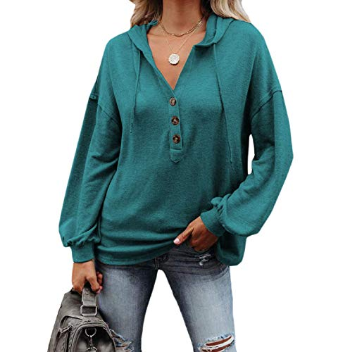 Aooword Women's Pullover Sweatshirt Hooded Winter Button Down Tunic Tops Green 3XL