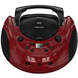 Mayceyee Portable Stereo CD Player with AM/FM Radio and Aux Line-in, Playback CDs, CD-R/RW and MP3 CDs (Red+Black)