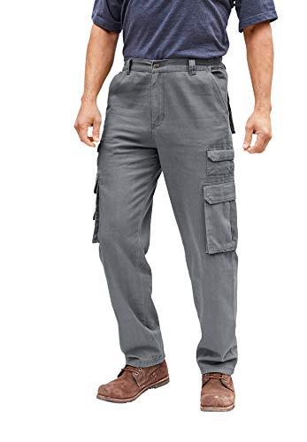 Boulder Creek by Kingsize Men's Big & Tall Side-Elastic Stacked Cargo Pocket Pants - Big - 60 38, Steel