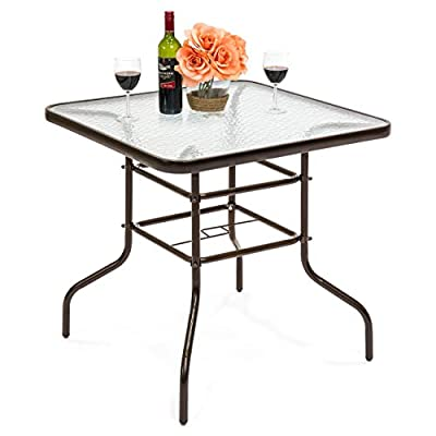 Best Choice Products 32in Square Tempered Glass Outdoor Patio Dining Bistro Table w/Umbrella Hole, Steel Frame