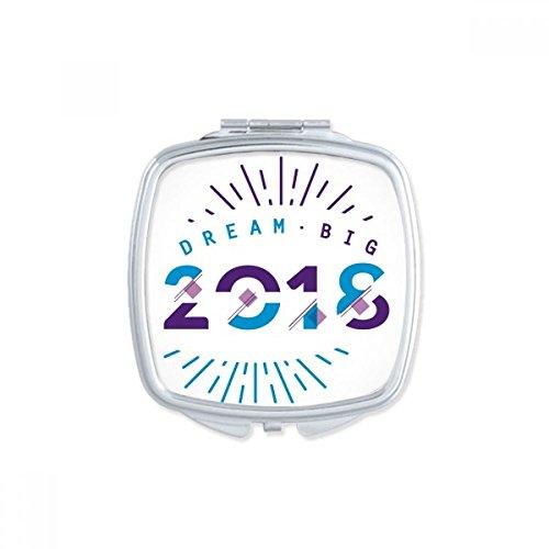 DIYthinker 2018 Année Dream Big Happy New Year Place Miroir de Maquillage Compact Portable Mignon Miroirs de Poche à la Main Cadeau Multicolore