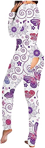 Women Jumpsuit Pajamas, Womens Onesie Pajamas Butt Button...