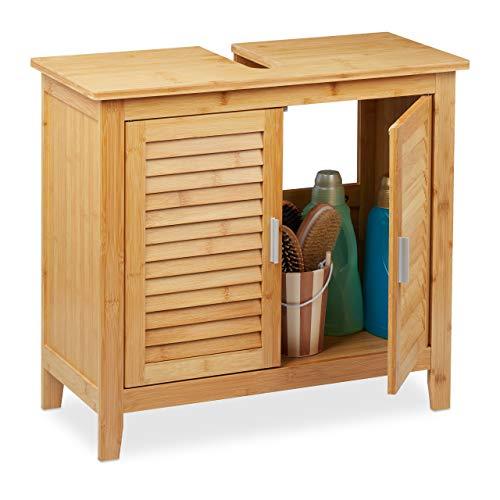 Relaxdays Waschbeckenunterschrank Bambus, HxBxT: 60x67x30 cm, 1 großes Fach, 2 Türen, magnetisch, Badunterschrank, Natur