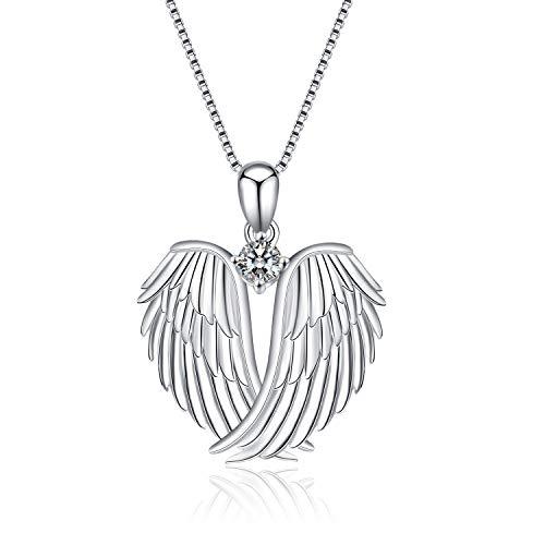 Guardian Angel Wings Halskette Sterling Silber Anh?nger mit Sparkle Cubic Zirconia Schmuck f¨¹r Frauen M?dchen Geburtstag Geschenk Birhstone April