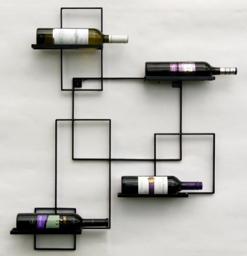 """DanDiBo Scaffale Vini a Parete """"Black Line"""" Supporto Bottiglie in Metallo 90 cm Scaffale a Parete Porta Bottiglie"""