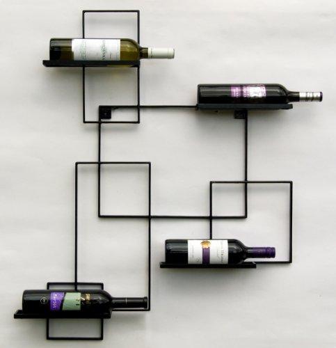 "DanDiBo ""Black Line"" - Botellero de metal, 90cm, estante para pared"