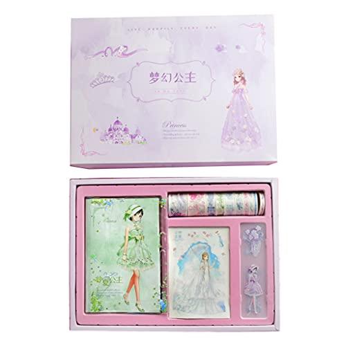Kemelo Cute Cartoon Scrapbook Set 112 Hojas de Papel Rayado Decorativo Xtickers Pluma Colgante de Gel bolígrafo Regalo de cumpleaños para niños, blocs de Notas, Color 2