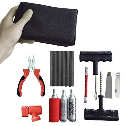 RZ TOOLS Kit PINCHAZOS Coche Pequeño para Reparar Neumáticos (Incluye Alicates) - Completo y Compacto