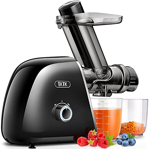 Slow Juicer, TKTK Wide Feed Chute Masticating Juicer Extractor with 2-Speed Modes, Cold Press Juicer 90% Juice Yield, Quiet European Engineered Motor & Easy to Clean with Recipe for Fruit & Vegetable