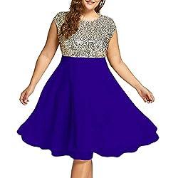 Blue Sequin Plus Size Formal Round Neck Sleeveless Dress