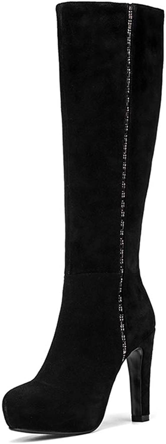 Women's Long Boots, Fall Winter Thick Heel High Boots Ladies Scrub Waterproof Platform Knee Fashion Boots (color   Black, Size   35)