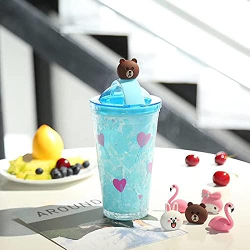 ZHOUSAN Doble capa de refrigeración paja moda gradiente lindo hielo taza pareja oficina hogar bebida taza linda botella de agua con paja lindo