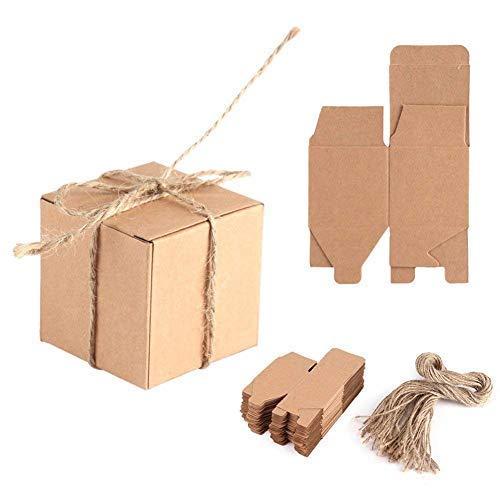 Zerodis 50pcs Cajas de Cartón Kraft para, 5x5x5cm Cajas de Papel Kraft de Caramelo Dulces, Papel Kraft con Cuerda de Yute