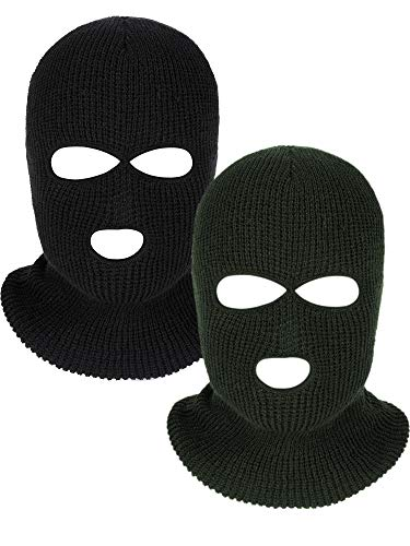 WILLBOND 2 Pieces Knitted Full Face Cover 3-Hole Ski Mask Winter Balaclava Face Mask for Adult Supplies (Black, Army Green)