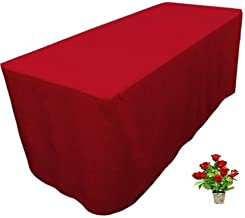 OWS 4' Feet 4 Foot Fitted Rectangle Polyester Table Cloth Tresale Table Cover Trade show Booth 48 L X 24 W X29 H -4 ft Red - 1 Pc