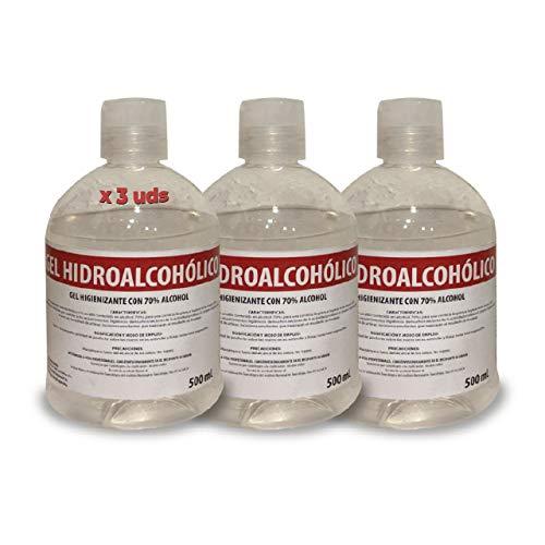 Gel Hidroalcohólico 70% alcohol - 500 ml, 3 Unidades, Fabricado en España