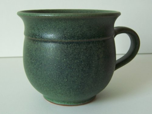 Töpferei Annett Fischer T7 Tasse handgetöpfert Tasse Keramik grün Durchmesser 9 cm Höhe 8 cm Volumen 210 ml