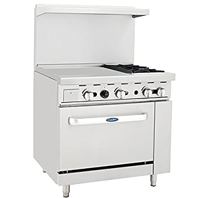 "CookRite Liquid Propane Range 2 Burner Hotplates With 24"" Manual Commercial Griddle Standard Oven 36'' - 121000 BTU"