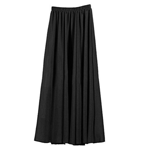 Nlife Frauen-Doppelte Schicht Chiffon- gefalteter Retro- langer Maxi Rock-elastischer Taillen-Rock, 100cm, Farbe: Black