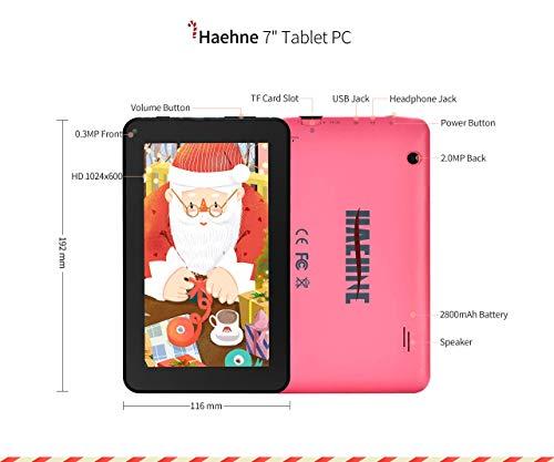 Haehne 7 Zoll Tablet PC, Google Android 9.0 GMS Zertifiziertes, HD Bildschirm, 1GB RAM 16GB ROM Quad Core, Zwei Kameras, Bluetooth, WiFi, Rosa