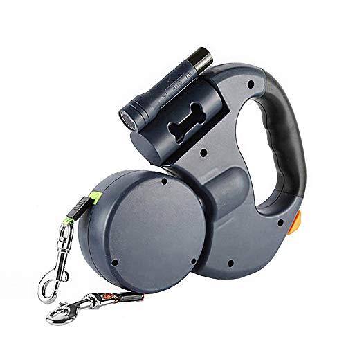 Doppelleine fur Zwei Hunde,Doppelleine,Die Einstellbare 360°-Drehung Ohne Verwicklungen mit Reflektierenden Streifen,Taschenlampe und Beutelspende