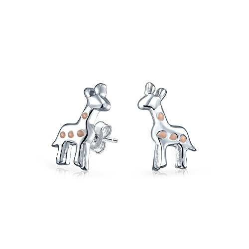 Tiny Delicate Pink Enamel Zoo Animal Giraffe Stud Earrings For Teen For Women 925 Sterling Silver