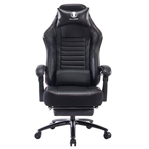 FANTASYLAB Gaming Stuhl Bürostuhl Computer Spielstuhl mit Fußstütze bis 182kg Belastbar- Verstellbares Massage Lendenkissen Ergonomische Schreibtischstuhl Einstellbarer Neigungswinkel,Schwarz