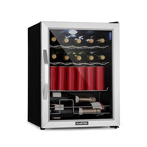Klarstein Beersafe XL Mix It - Nevera de bebidas, Mininevera, Minibar, De 0 a 13°C, 60 L, Clase A++, 42 dB, Iluminación LED, 4 Rejillas metálicas, Puerta acristalada, Silencioso, Plateado