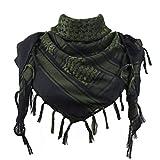 Explore Land - Pañuelo palestino/shemagh militar para el desierto, 100 % algodón Negro Negro y verde. 110 x 105 cm