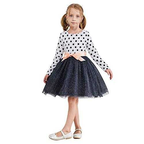 TTYAOVO Vestido de Fiesta Informal de Tul con Lunares de Manga Larga para Niñas de 5-6 años(Talla130) 218 Blanco