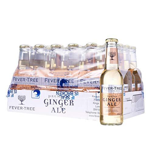 Fever-Tree - Premium Ginger Ale, Caja de 24 Botellas 20cl Refresco de Jengibre, Bebida Para Ron, Whisky O Bourbon, en Botellín, Original, Calidad, Muy Refrescante