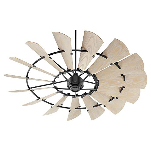 """Quorum 197215-69 72"""" Windmill Ceiling Fan in Noir with Weathered Oak Finished Blades, Damp Rated Ceiling Fans"""