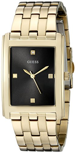 Guess Hombre u0667g2Dressy Diamond-Accented Tono Dorado Vestido de Acero Inoxidable Reloj