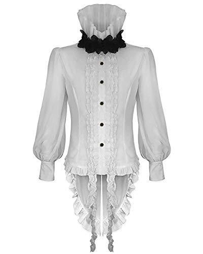 Devil Fashion Hombre Vampiro Gótico Camisa Top Blanco Steampunk Vintage Victoriano Rosa - Blanco, Blanco, Medium