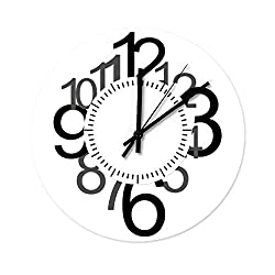 Happycat Retro Clock Non-Ticking Silent Wooden Round Wall Clock OfficeCoffee Bar Decor DecorationWall Clock White 30x30x0.5cm