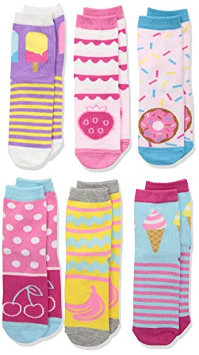 Jefferies Socks Little Sweat Treats - Calcetines para chicas (6 pares), Multicolor, X-Small