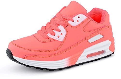 Fusskleidung Herren Damen Sportschuhe Dämpfung Neon Sneaker Laufschuhe Runners Gym Unisex Pink EU 38