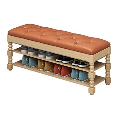 HEMFV Simplifique el banco de almacenamiento, Asamblea rápida zapato Bastidores de almacenamiento multifuncional Clamshell zapatero gabinete con asiento de cuero PU Dormitorio Baño Hotel (color: color