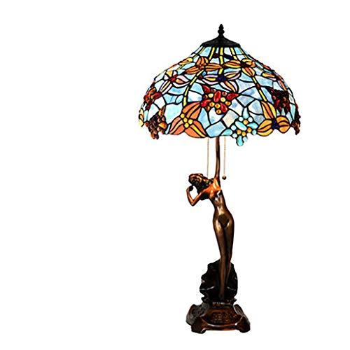 Beleuchtung im Tiffany Stil, Europäischen Retro Atmosphäre Warme Tischlampe For Wohnzimmer Couchtisch Schlafsofa Schlafzimmer 16 Zoll (Color : 4)