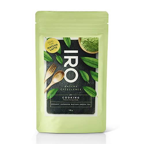 Te Verde Matcha Biologico japones en polvo IRO para cocina y latte, Premium Culinary Grade, bolsa de 100 g, ideal para Matcha Latte o para reposteria, postres, helados y batidos. 100 % organico