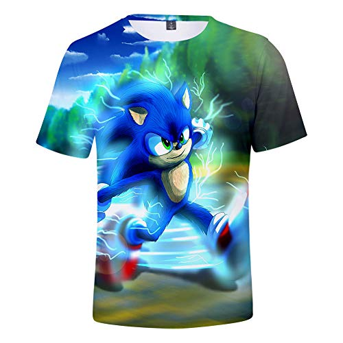 3D Lustig Sonic The Hedgehog T-Shirts Herren Damen Atmungsaktiv Cosplay Kostüm, Jungen Mädchen Kinder 3D Druck Niedlich Tee Shirts Sommer Rundhals Tops XXS-4XL G XL