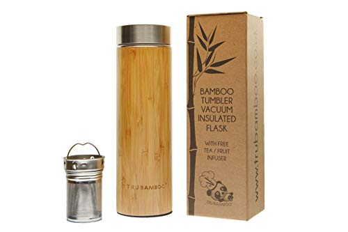 Largest Premium Real Bamboo and Stainless Steel Tumbler 530...