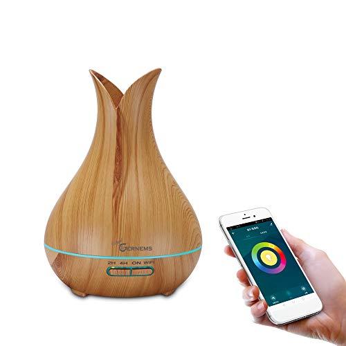 WiFi Aroma Diffuser 400ml, Smart Ätherische Öl Ultraschall Duftlampe Luftbefeuchter, Kompatibel mit Alexa und Google Home, APP Steuerbar, Timer Funktion, 7-LED-Farbe (Light Wood Grain)