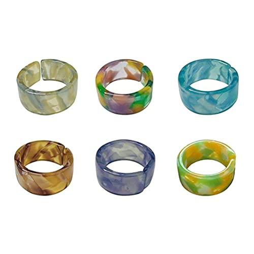 CeFoney Anillo de resina vintage, 6 anillos de resina, anillo de boda colorido acrílico anillo abierto dedo anillo vintage retro chic joyería regalo para mujeres niñas y mujeres