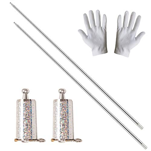 2 Pack Pocket Staff, Retractable Collapsible Bo Staff, Professional Magician Stage Street Magic Performance Magic Staff, Expandable Staff for Adults, Gifts and Magicians (Silver, 43.3Inch)